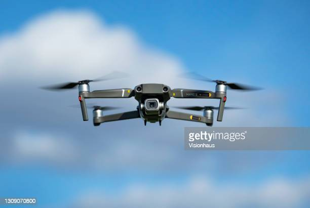 Drone with a camera flying in the air on March 24, 2021 in Manchester, United Kingdom.