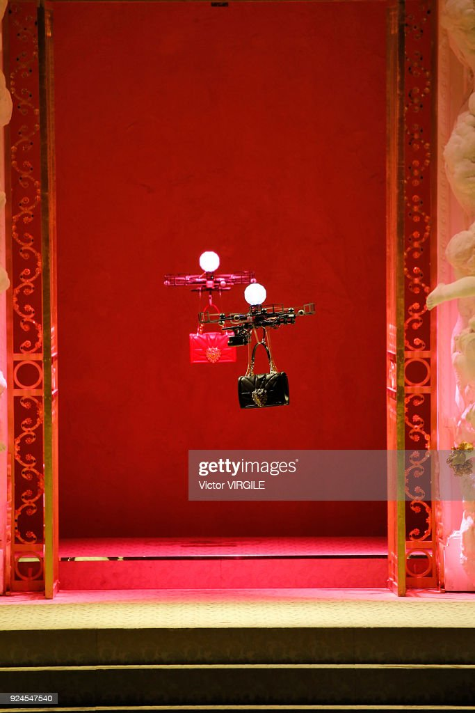 Drones carry handbags down the runway at the Dolce & Gabbana Ready to Wear Fall/Winter 2018-2019 fashion show during Milan Fashion Week Fall/Winter 2018/19 on February 25, 2018 in Milan, Italy.