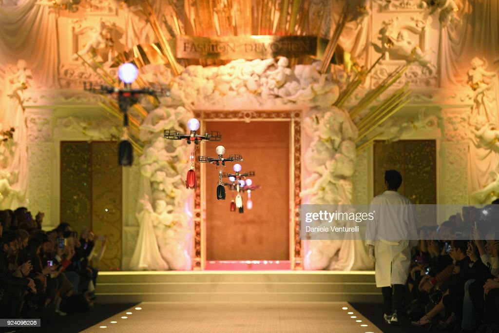 Drones carry handbags down the runway at the Dolce & Gabbana show during Milan Fashion Week Fall/Winter 2018/19 on February 25, 2018 in Milan, Italy.