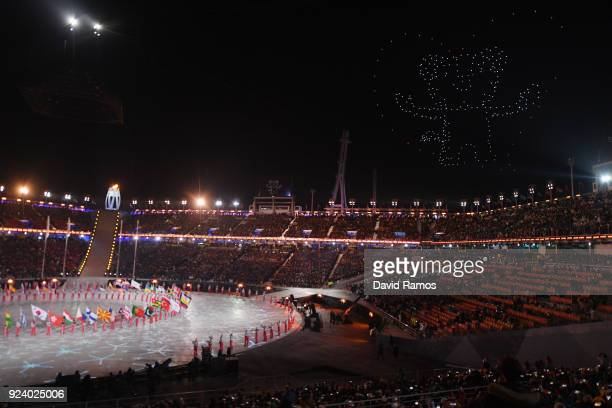 Drones create shapes in the sky during the Closing Ceremony of the PyeongChang 2018 Winter Olympic Games at PyeongChang Olympic Stadium on February...