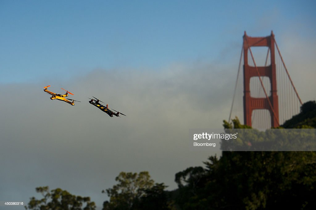 Drones fly during a battle demonstration at the Bloomberg Next Big Thing Summit in Sausalito, California, U.S., on Monday, June 9, 2014. The conference convenes tech's most important entrepreneurs, investors, and innovators for a discussion about what makes great tech leaders, successful companies, and disruptive products. Photographer: David Paul Morris/Bloomberg via Getty Images