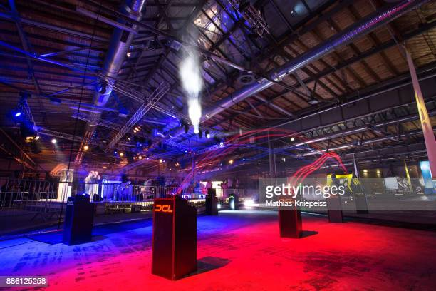Drones start on the track at Station Berlin during the DCL Drone Champions League Championship Finals in Berlin on December 03 2017 in Berlin Germany