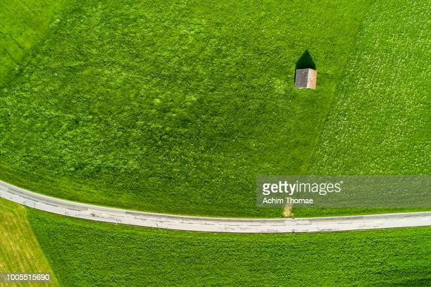 Droneview of an alpine Landscape and road, Switzerland, Europe