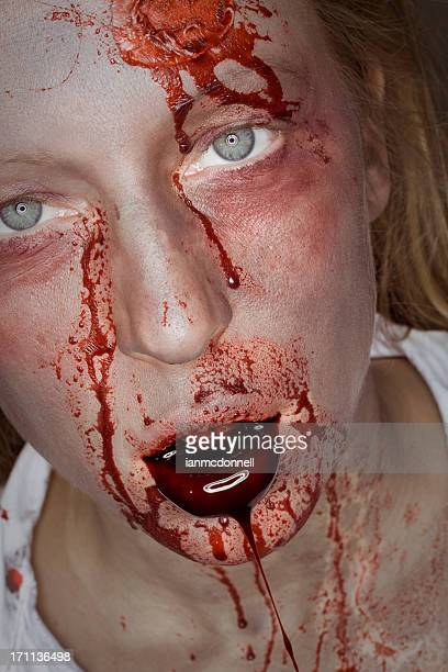 drool - zombie makeup stock photos and pictures