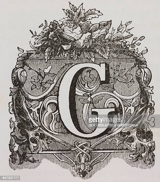 Drop cap letter G with leafshaped decorations illustration from A Thought to Venice 1860's coffee table book dedicated to Italian women with...