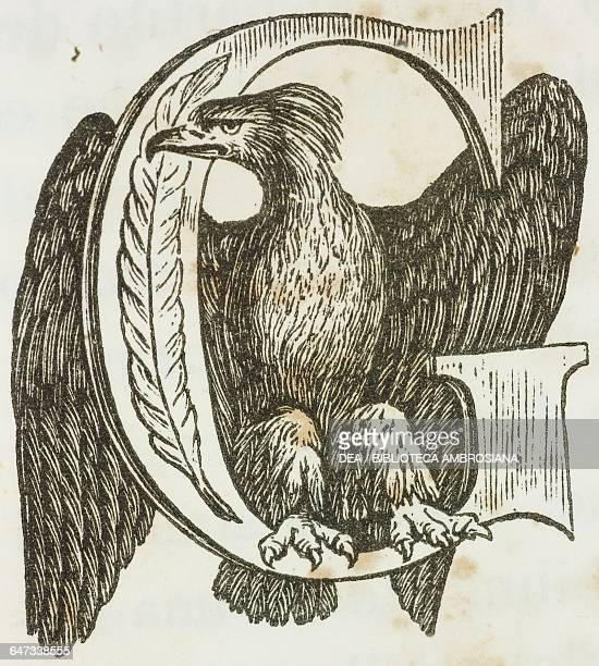 Drop cap letter G with Napoleonic imperial eagle illustration from the first Italian edition of The Memorial of Saint Helena Volume 1 by Emmanuel...