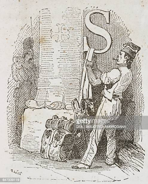 Drop cap letter S with Napoleonic soldier hanging up his equipment next to a column in a church illustration from the first Italian edition of the...