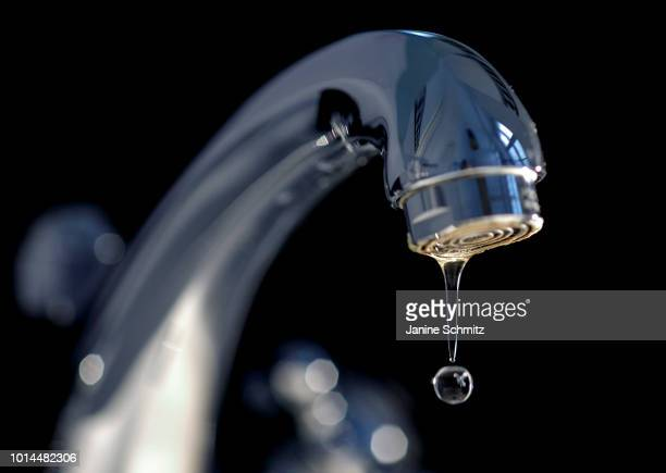 A drop of water on a faucet on June 25 2018 in Berlin Germany
