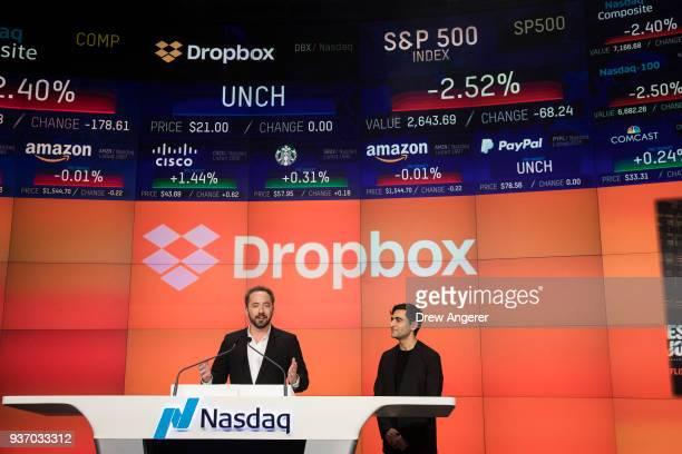 Dropbox CEO Drew Houston Dropbox and cofounder Arash Ferdowsi speak before the launch of Dropbox's initial public offering at Nasdaq MarketSite March...