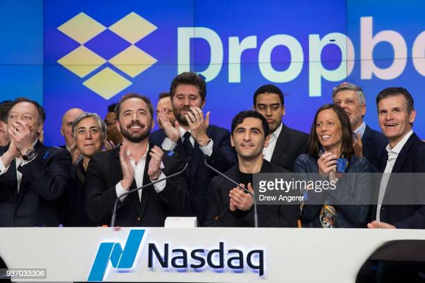 Dropbox CEO Drew Houston Dropbox and cofounder Arash Ferdowsi celebrate the launch of Dropbox's initial public offering as they ring the opening bell...