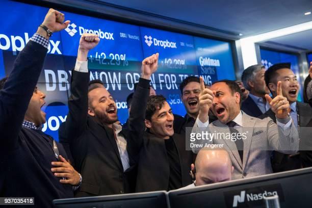 Dropbox CEO Drew Houston Dropbox and cofounder Arash Ferdowsi celebrate the launch of Dropbox's initial public offering at Nasdaq MarketSite March 23...