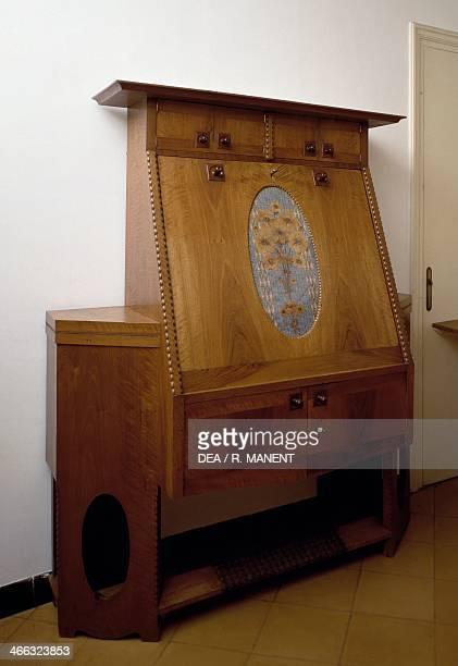 Dropleaf desk by Rafal Maso walnut Spain 20th century