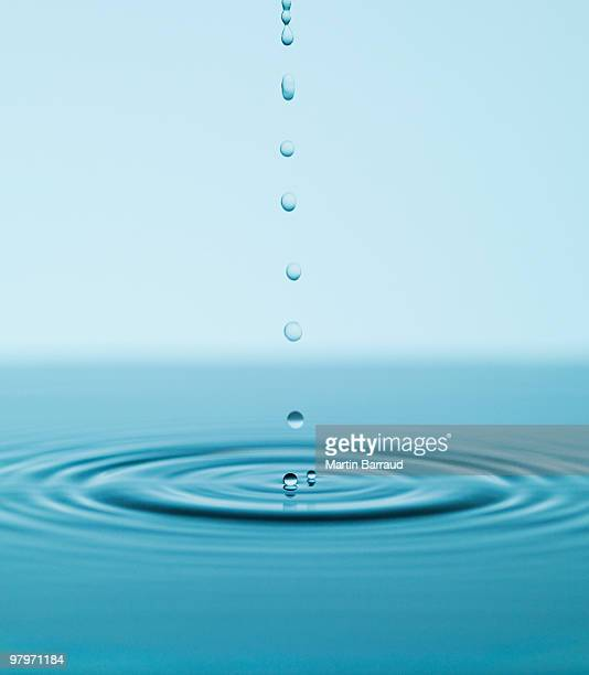 Droplets falling and rippling pool of water