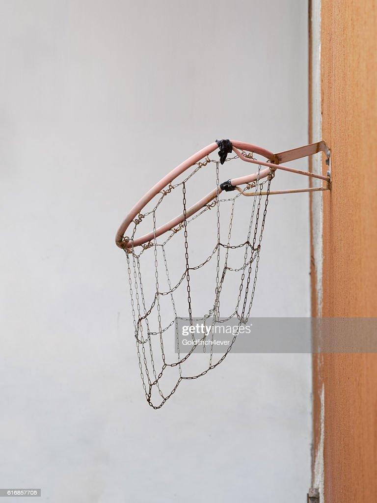 Dropping and broken basketball net. : Stock Photo