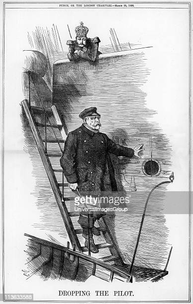 Dropping the Pilot', 1890. Otto von Biskarck Prussian/German statesman resigned as Chancellor, together with his son the German foreign secretary,...