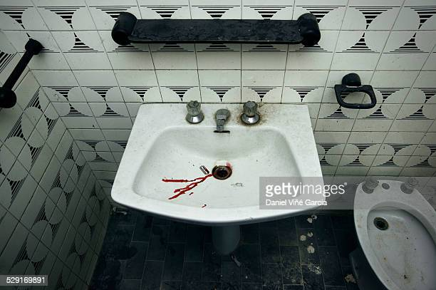 drops of blood on a razor blade - blood in sink stock pictures, royalty-free photos & images