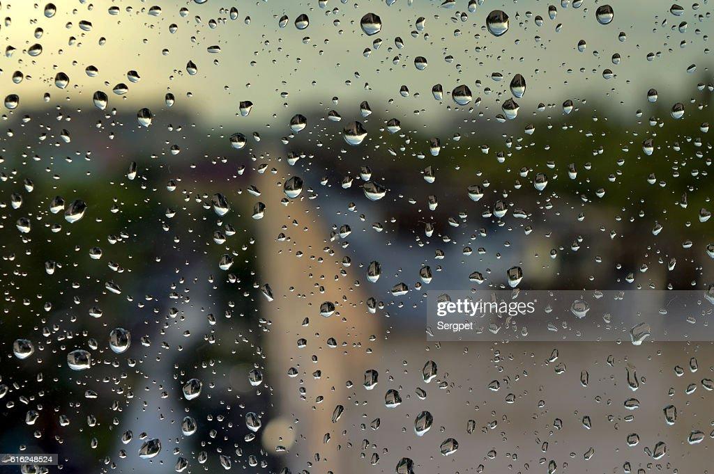 Gotas de lluvia en la ventana : Foto de stock