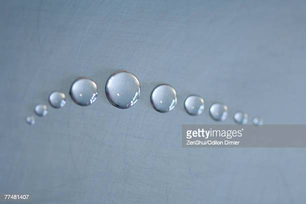 Drops of water in line