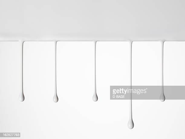 drops of white paints in a row