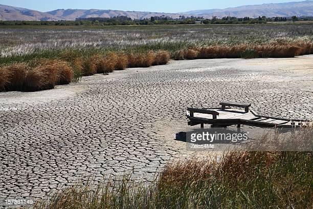 Condiciones de secano provocar enmudecido marsh o lecho del río