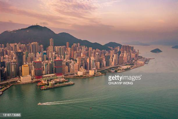 drove view of victoria harbour, hong kong - great recession stock pictures, royalty-free photos & images
