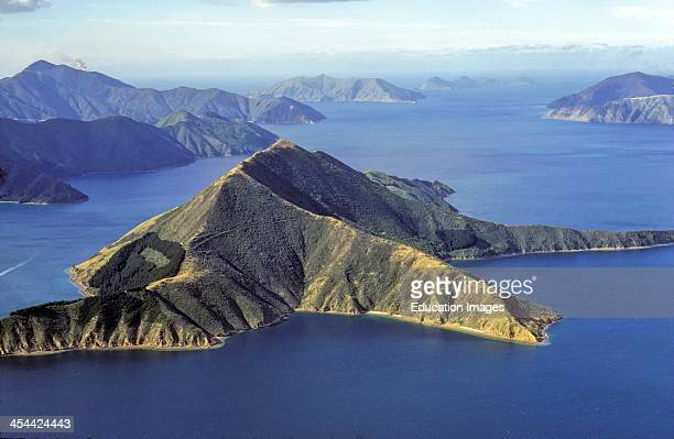 Drowned coastline or ria Aerial of Maud Island a wildlife refuge Marlborough Sounds New Zealand