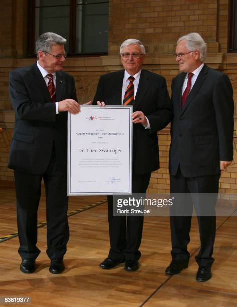 DrTheo Zwanziger president of the german football association DFB receives the award for his efforts against discrimination and rightwing extremism...