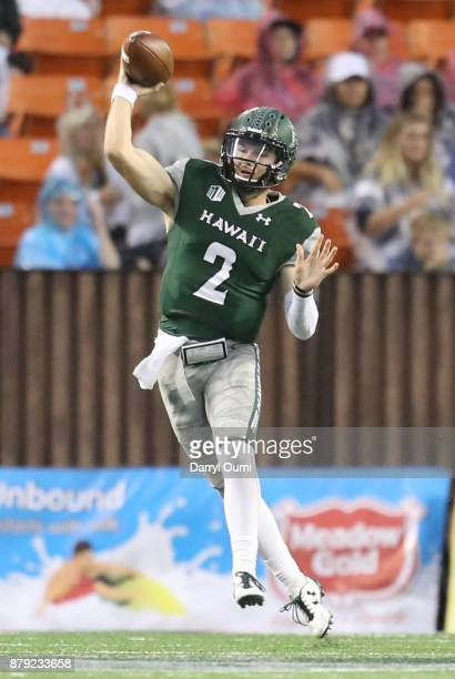 Dru Brown of the Hawaii Rainbow Warriors throw the ball during the third quarter of the game against the BYU Cougars at Aloha Stadium on November 25...