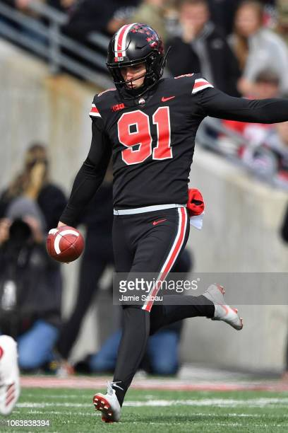Drue Chrisman of the Ohio State Buckeyes punts against the Nebraska Cornhuskers at Ohio Stadium on November 3 2018 in Columbus Ohio