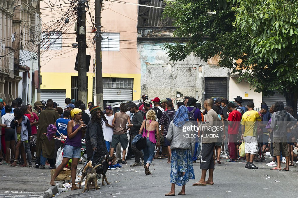 drug addicts gather in the street in cracolandia in downtown sao