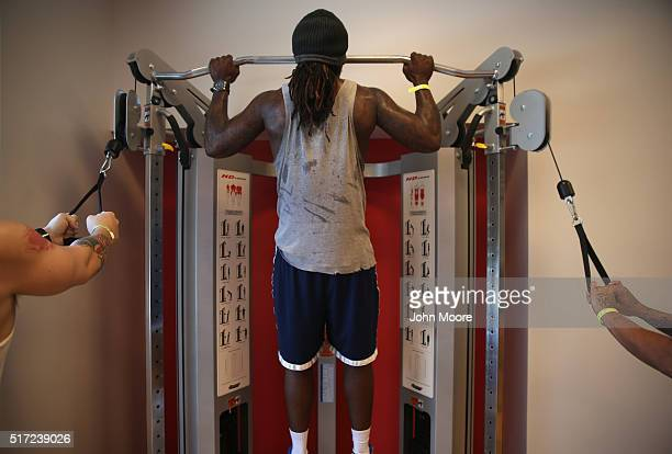 Drug addicts in recovery excercise at a substance abuse treatment center on March 22 2016 in Westborough MA The new 100bed residential rehab center...