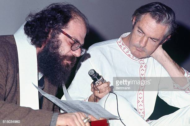 LSD drug advocate Timothy Leary and Allen Ginsberg at the Village Gate Theatre where the League for Spiritual Development sponsored film