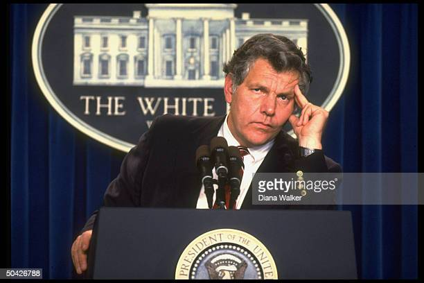 Drug czar William Bennett at press conference announcing resignation as first director of Office of National Drug Control Policy.