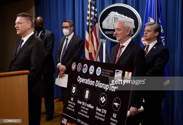 US Drug Enforcement Agency acting Administrator Timothy Shea speaks as Chief Postal Inspector Gary Barksdale Immigration and Customs Enforcement...