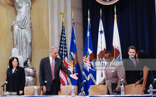 Drug Enforcement Agency Administrator Michele LeonhartUS Attorney General Eric Holder actor Wendell Pierce actor Jim TrueFrost and actor Sonja Sohn...