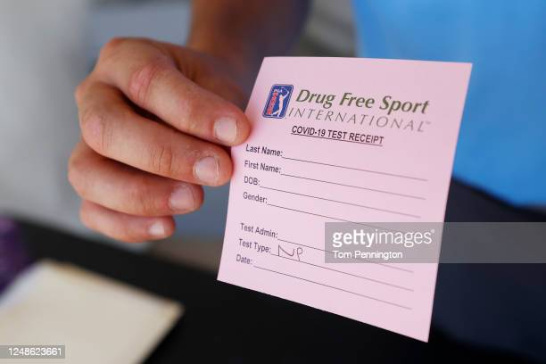 Drug Free Sport International COVID-19 test receipt is displayed at a mobile testing unit prior to the Charles Schwab Challenge on June 09, 2020 in...