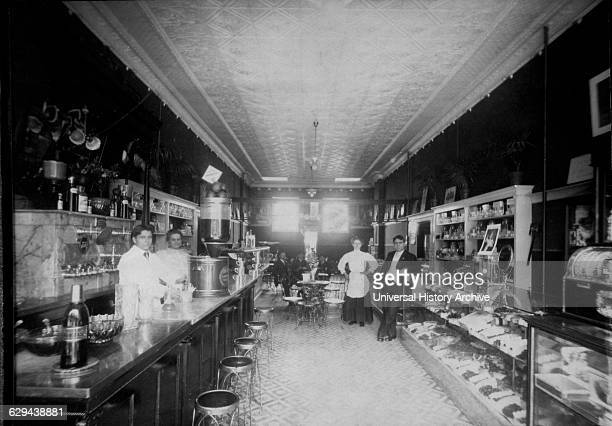 Drug Store Interior, Soda Fountain at Left, circa 1900.