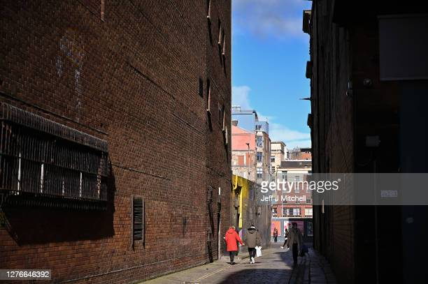 Drug users walk away after using the Safe Consumption van set up by Peter Krykant on September 25, 2020 in Glasgow, Scotland. Peter a recovering...