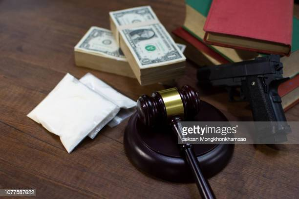 drugs with money and judgment - bail law stock pictures, royalty-free photos & images