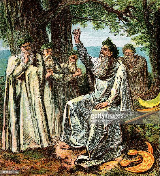 'Druids Or British Priests' Ancient Celtic priest Colour plate from Pictures of English History George Routledge Sons
