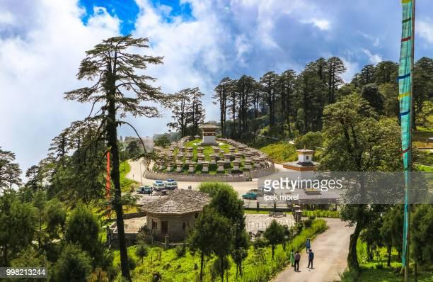 druk wangyal khangzang stupa, dochula pass, bhutan - ipek morel stock pictures, royalty-free photos & images