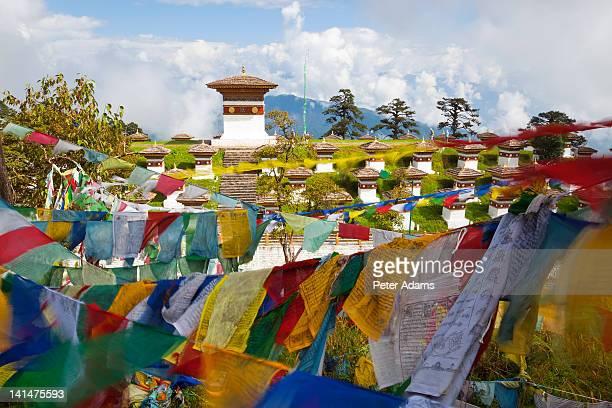 Druk Wangyel Chortens and prayer flags, Bhutan
