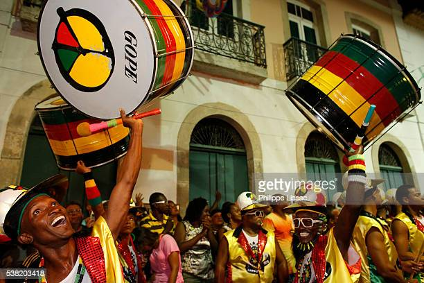 Drum band Olodum performing in a Pelourinho street during carnival