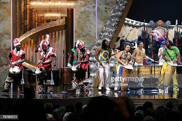 Drum Groups Sun Hwa and Futa Toro perform onstage during the 39th NAACP Image Awards held at the Shrine Auditorium on February 14 2008 in Los Angeles...