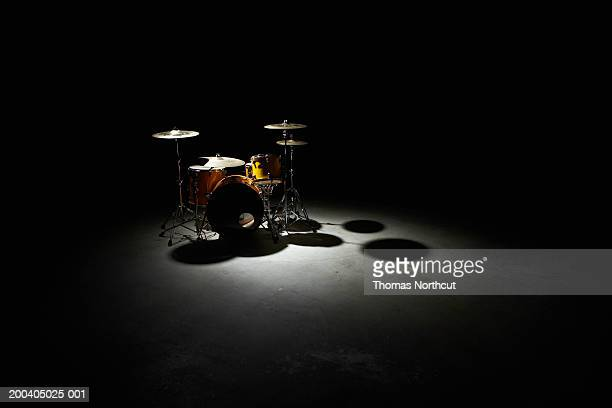 drum kit, elevated view - drum kit stock photos and pictures