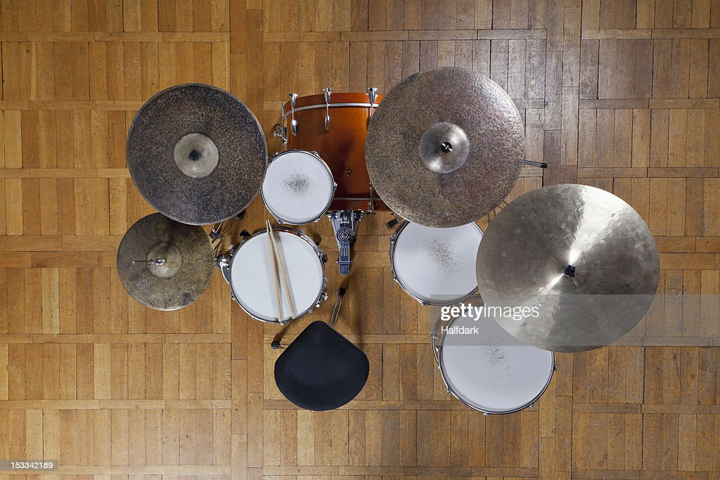 Drum kit from above : Stock Photo