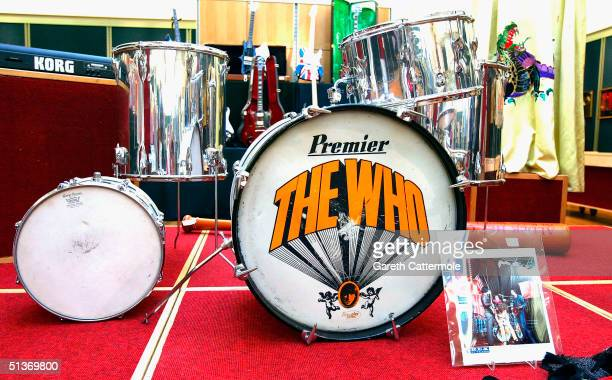 Drum kit owned by Keith Moon from The Who is seen ahead of the Pop Memorabilia auction at Christie's South Kensington on September 29 2004 in London...