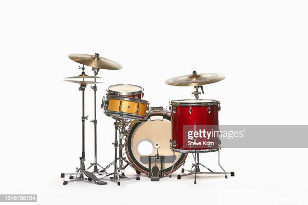 drum set against white - percussion instrument stock pictures, royalty-free photos & images