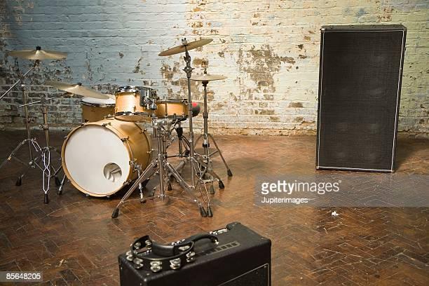 Drum set with speakers