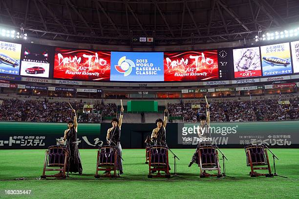 Drum Tao and Hanazono University perform during the opening ceremony before the Pool A Game 1 between Team Japan and Team Brazil during the first...